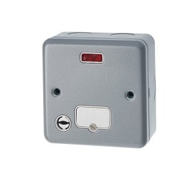 Metal Clad 13A DP Fused Spur With Flex Outlet and Neon Indicator Detail Page