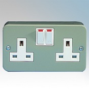 Metal Clad 13A Double Socket 2 Gang Switched Detail Page