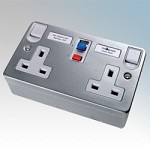 Metal Clad 13A RCD Double Socket 2 Gang Switched Detail Page