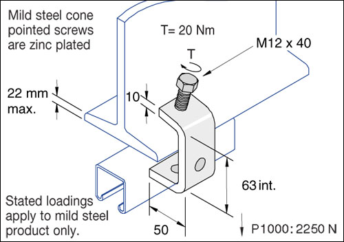 Beam Clamps, Large C Clamp (with cone point) Detail Page