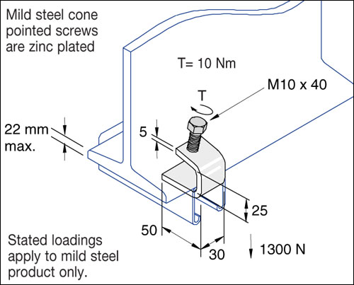 Beam Clamps, Small C Clamp (with cone point) Detail Page