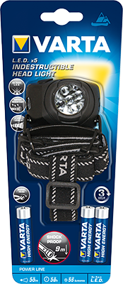 Varta Indestructible LED X5 Head Light 3AA Detail Page