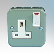 Metal Clad 13A Single Socket 1 Gang Switched Detail Page