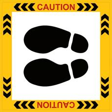 Caution Lift Floor Feet Notice - Self Adhesive Detail Page