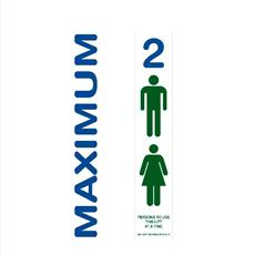 Lift Door Notice - Max Persons - Self Adhesive Labels - Set of Two - 1 to 6 Persons Detail Page